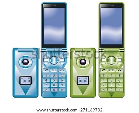 Illustration of colorful Flip Phone. / Blue, Green. - stock photo