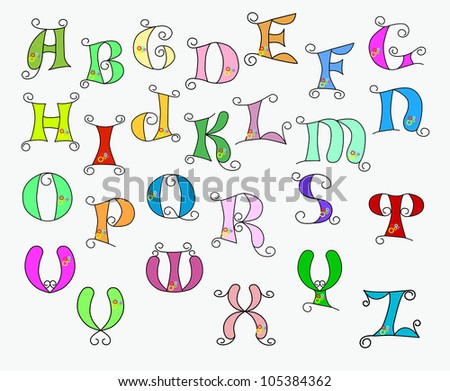 illustration of colorful funky alphabet on a white background - stock photo