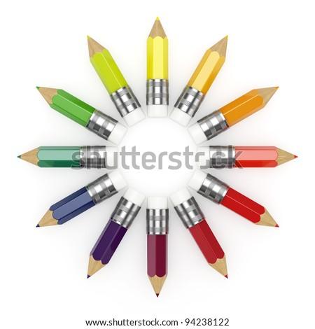 Illustration of colorful pencils wheel on white background - stock photo