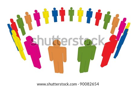 Illustration of colorful people forming circle