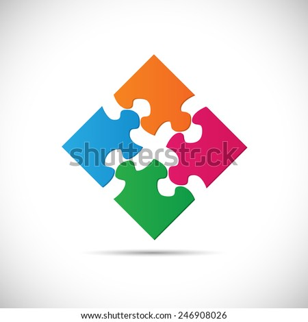 Illustration of colorful puzzle pieces isolated on a white background. - stock photo