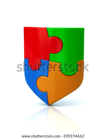 Illustration of colorful puzzle shield isolated on white background - stock photo