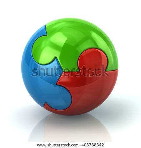 Illustration of colorful puzzle sphere isolated on white background - stock photo