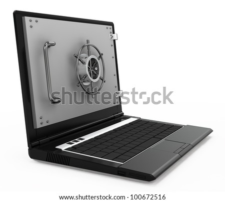 illustration of computer and information security. notebook safe deposit box with a closed door - stock photo