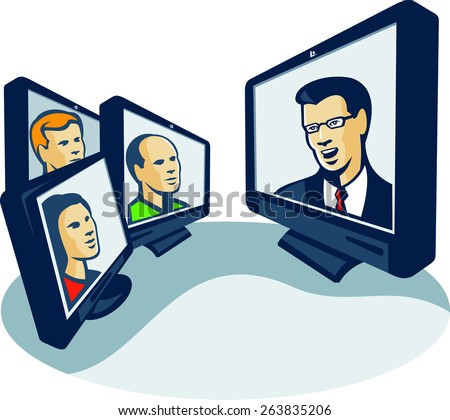 Illustration of computer screens monitor with man woman faces and presentor presenting webinar or video conferencing done in retro style. - stock photo