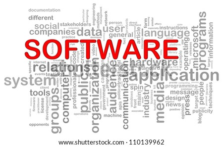 Illustration of computer software wordcloud - stock photo