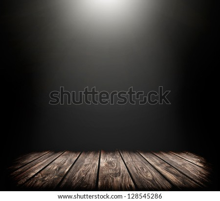 illustration of concert spot lighting over dark background and wood floor - stock photo
