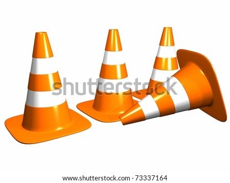 illustration of cones of color orange