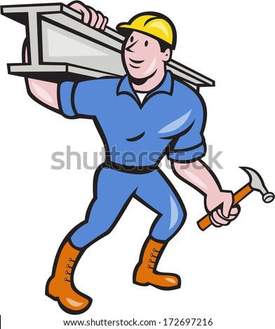 Illustration of construction steel worker carpenter carrying i-beam girder on shoulder on isolated white background done in cartoon style.