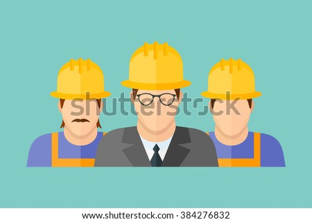Illustration of construction team. Group of construction workers flat style banner. - stock photo