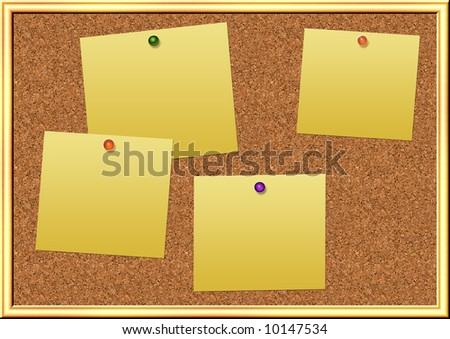 illustration of cork board with empty notes