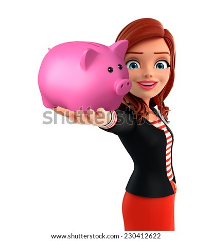 Illustration of corporate lady with piggy bank