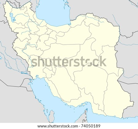 Illustration of country of Iran map showing borders. - stock photo