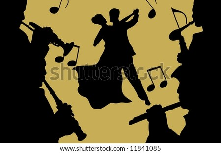 Illustration of couple dancing and musicians