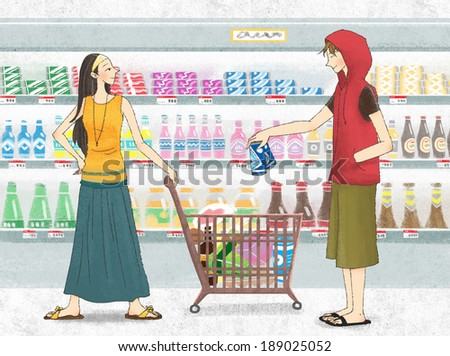 Illustration of couple in grocery store