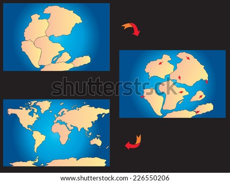 illustration of creation of the continents - stock photo