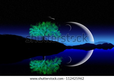 Illustration of crescent moon with beautiful night background. - stock photo