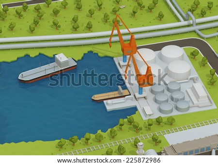 Illustration of cross section of sea with oil and gas platform in the gulf or the sea, transporting gas or oil on land station. - stock photo