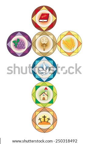 Illustration of cross with religion icons. - stock photo