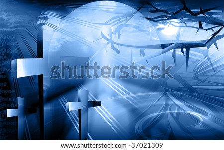 Illustration of crosses and crown of thorns - stock photo