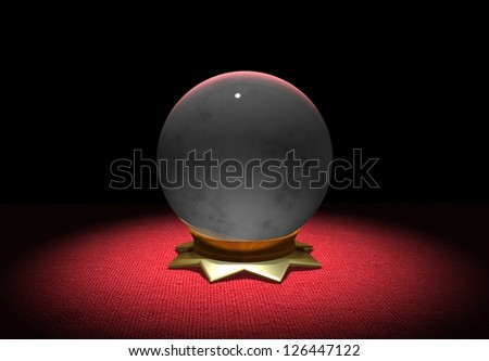 Illustration of Crystal Ball on Red Cloth - stock photo