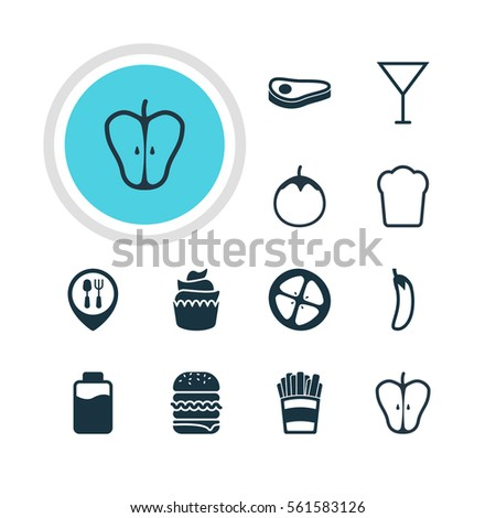 Illustration Of 12 Cuisine Icons. Editable Pack Of Beefsteak, Potato , Sandwich Elements.