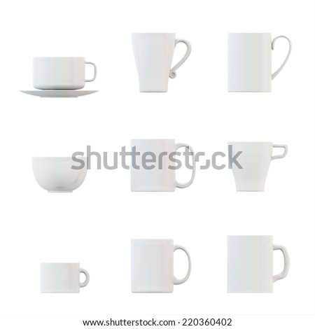 illustration of cup set - stock photo