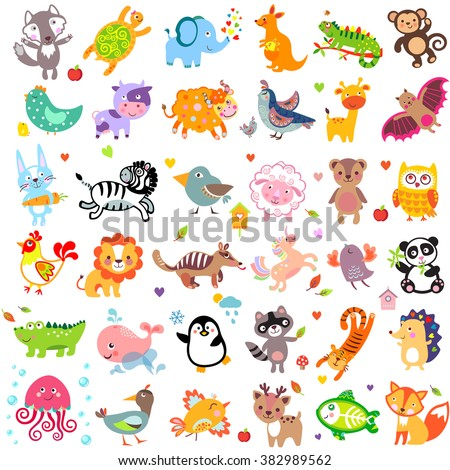 Illustration of cute animals: Yak, rabbit, wolf, hen, rooster, chicken, quail, giraffe, whale, panda, lion, deer, x-ray fish, fox, dove, duck, quail, iguana, zebra, jellyfish, unicorn, numbat