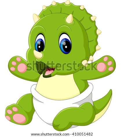 illustration of cute baby Triceratops cartoon