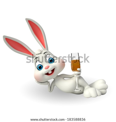 Illustration of Cute Easter Bunny with beer glass - stock photo