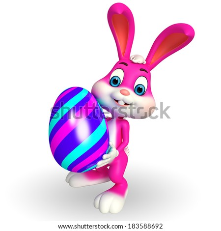 Illustration of Cute Easter Bunny with big egg - stock photo