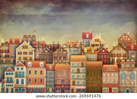 Illustration of  cute houses in sky - stock photo