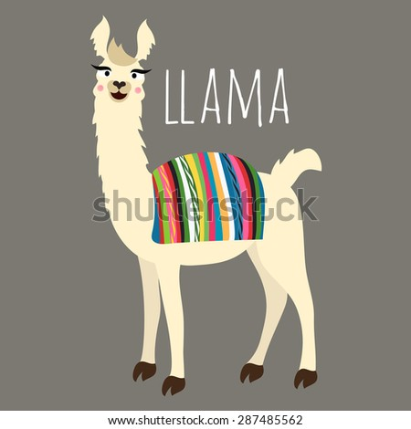 illustration of cute llama with Peru/Bolivian cape on back - stock photo