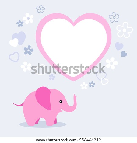 Illustration of cute pink elephant with flowers, heart and text box for Valentine's Day