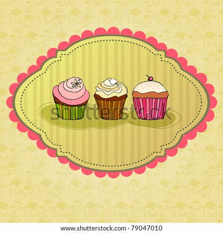 illustration of cute retro cupcakes card - stock photo