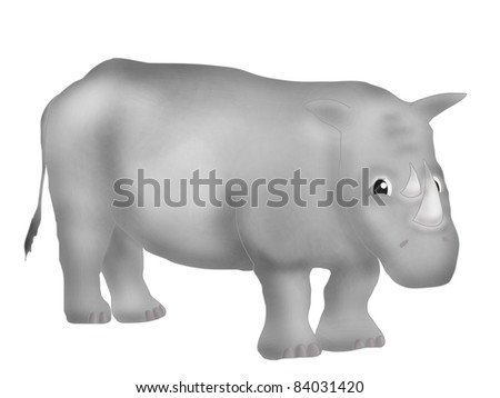 Illustration of cute smiling rhino