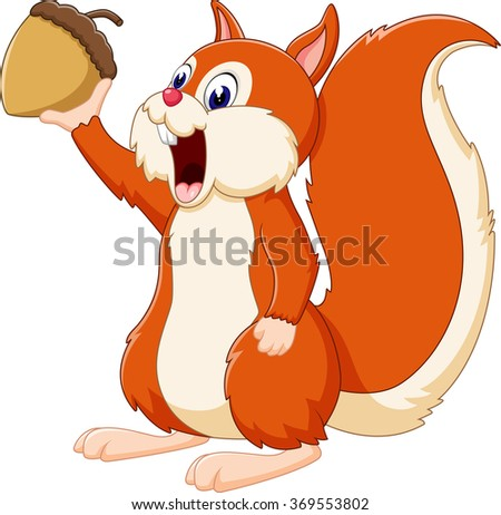 illustration of Cute squirrel cartoon - stock photo