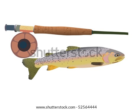 Illustration of cutthroat trout with fly rod. Vector image also available - stock photo
