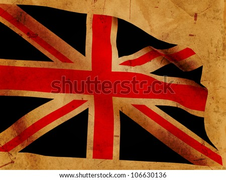 Illustration of 3d British flag over old paper - stock photo