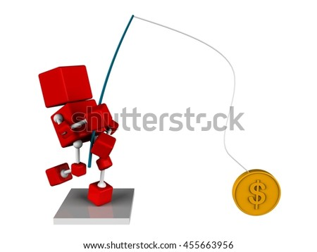 illustration of 3d character red cube fishing got a gold coin as symbol of money, isolated white background - stock photo