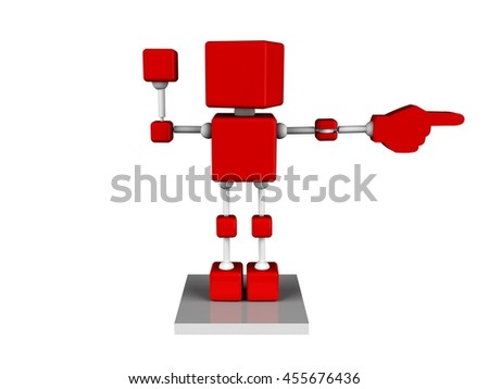 illustration of 3d character red cube show right direction with hand pointing finger, isolated white background