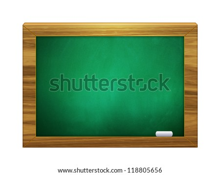 Illustration of 3d green chalkboard with chalk on white background. - stock photo