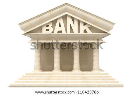 illustration of 3d image of Bank building in marble - stock photo