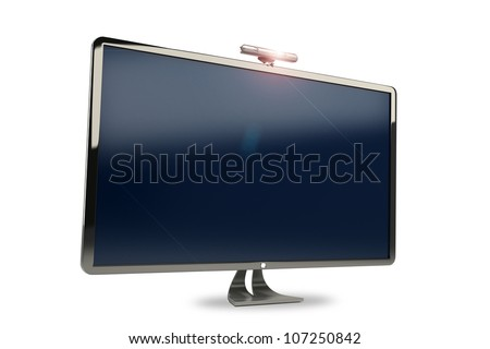 illustration of 3d image of high definition television - stock photo