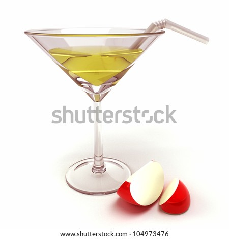 illustration of 3d image of red apple cocktail - stock photo