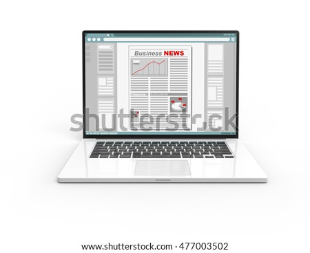 Illustration of 3D white laptop isolated with Business newspaper screen