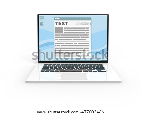 Illustration of 3D white laptop isolated with Display interface text frame