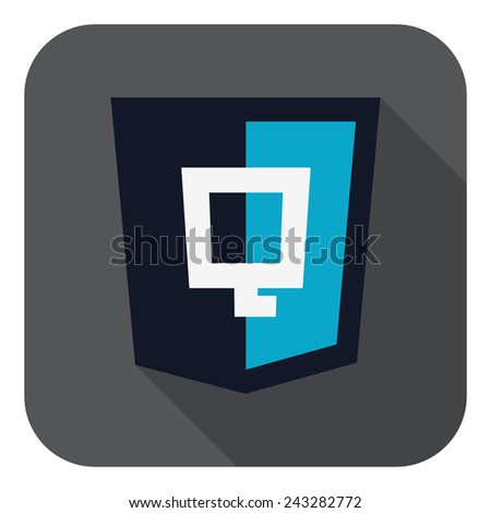 illustration of dark blue shield with javascript Q letter on the screen, isolated web site development icon on white background - stock photo