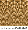 Illustration of dark monochromatic brown gold abstract checkered texture with many twirled shapes with checkered pattern of repeating glowing boxes or blocks - stock photo