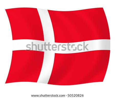 Illustration of Denmark flag waving in the wind - stock photo